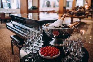 Champán y fresas. Restaurante Sete Colinas, Corinthia Hotel Lisbon