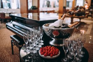 Champagne e morangos. Restaurante Sete Colinas, Corinthia Hotel Lisbon