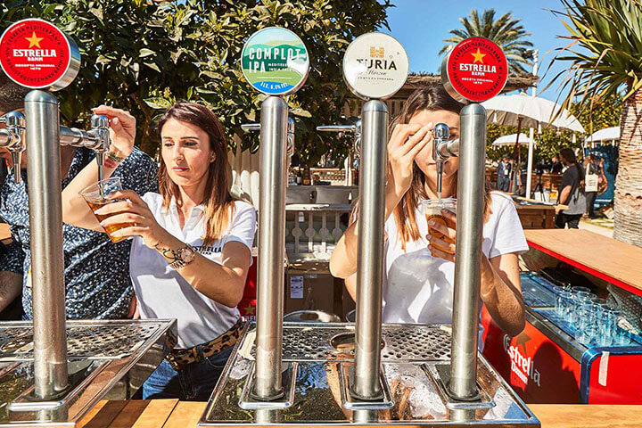 Estrella Damm draft beer towers