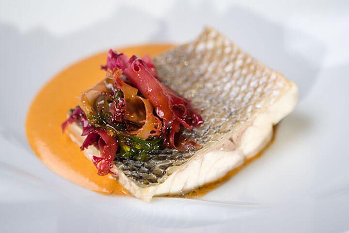 Sea bass steamed with seawedd and sea urchin cream
