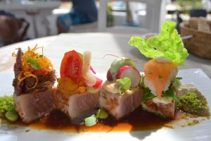 Tuna Tataki marinated in a sweet, acidic, spicy and salty sequence. Casa Piedra, Ibiza