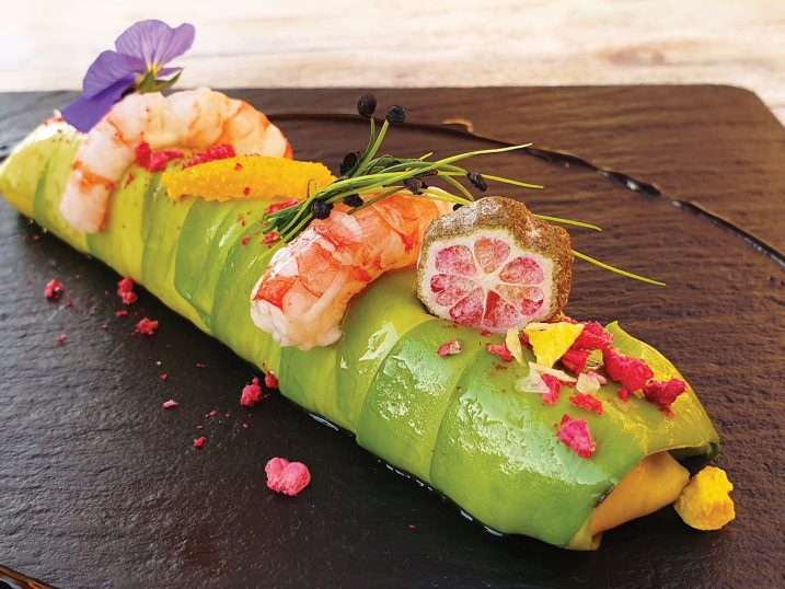 Avocado cannelloni with tartar sirvia (lemon fish) and red shrimp in Mediterranean citrus vinaigrette and carob teriyaki. Cana Sofía, Ibiza