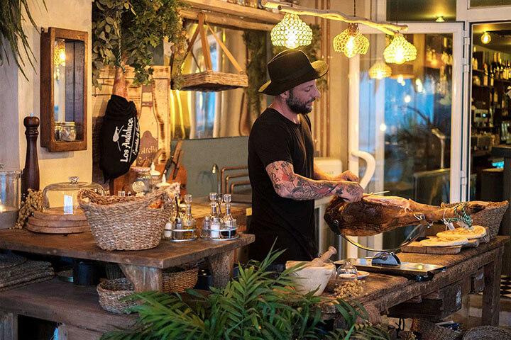 Ham cutting. Bocachula restaurant, Ibiza