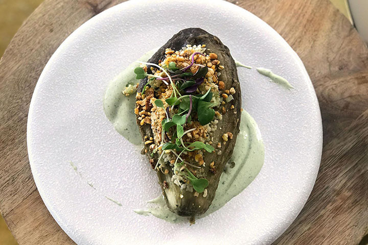Smoked aubergine with bulgur wheat, celery, and fresh mint yoghurt