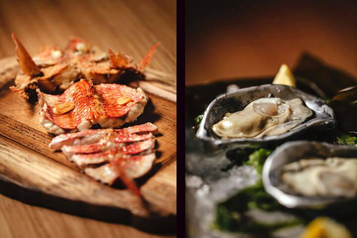 Salmonete y ostras en Estimar Madrid. Chef Rafa Zafra