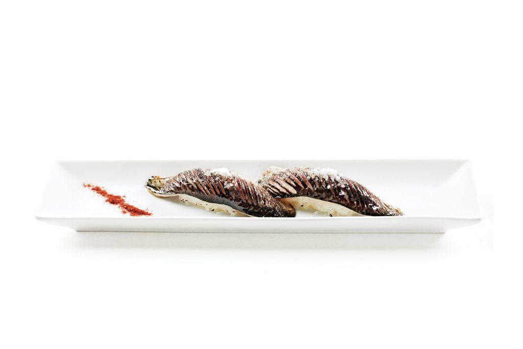 Roasted sardine Nigiri. Sea Me - Peixaria Moderna, Lisbon