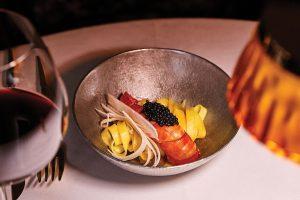 Tagliatelle, carabinero prawn and caviar. BECO Cabaret Gourmet, Lisbon