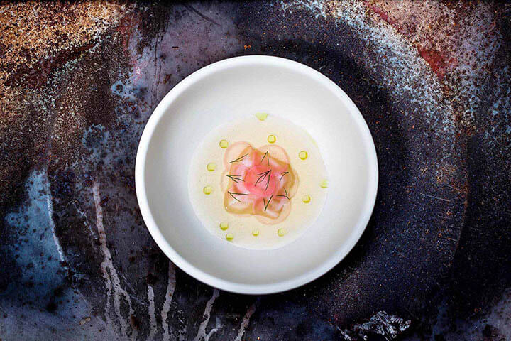 Crab, radish, seaweed broth and dill oil. Alexandre Silva