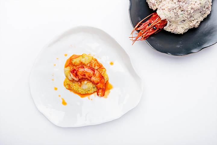 Scarlet shrimp two ways. Belcanto